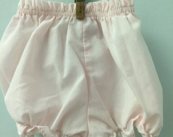 6 month, Classic Baby Bloomers, Pale Pink Solid with Ruffled Hem