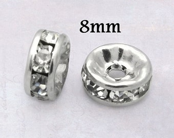 10 x Stainless Steel 8mm Rondelle Disc Spacer Beads with Clear Glass Crystal Rhinestones - 316 Surgical Grade