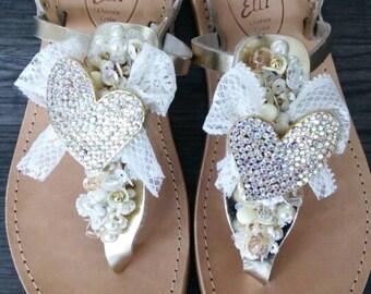 Handmade greek bridal sandals