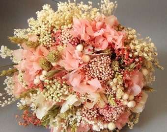 Wedding bouquets pink, beige and white.