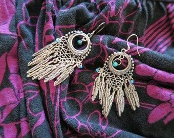 Feather chandelier earrings, tribal earrings, statement earrings, tibetan silver earrings, boho jewelry, hippie jewelry.