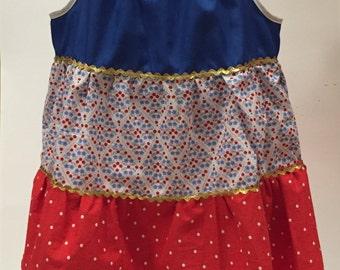 Toddler 4th of July Summer Sundress, Handmade Fourth of July Baby Girl Dress