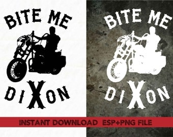 walking dead Bite me clipart ,T shirt, iron on , sticker, Vectors files ,Personal Use