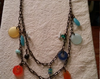 """Recycled Glass and Brass Necklace, 24 1/2"""""""
