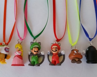 10 pcs Super Mario Party Favor Necklaces Set of 10 made with Super Mario theme Figures
