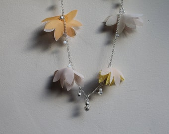 Yellow Chiffon flower necklace