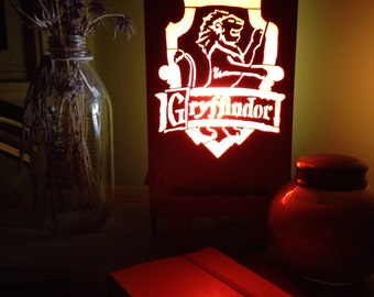 Harry Potter Lamp _Laser Cut (Gryffindor, Ravenclaw, Hufflepuff, Slytherin)