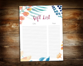 Shower Gift List - List of Received Gifts - Blank Gift List - 0017