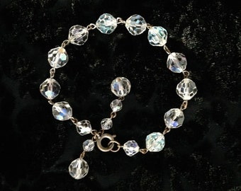 Vintage Iridescent Aurora Borealis Crystal Bracelet