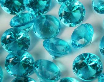 Wedding Table Scatters AQUA Acrylic Diamonds - 250 pieces, 10mm / 4 carat - Confetti Decor Wedding Party Centerpiece (TDK-W1006)