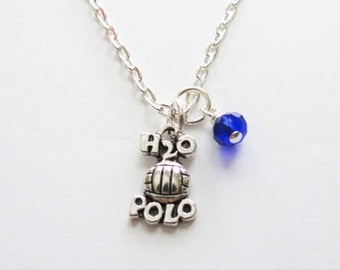Water Polo Necklace, Birthstone, Water Polo Team, Team Gift, Coach, Water Polo Player, Birthday, Friend, Gift, Team Banquet, Water Polo Ball