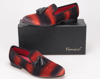FERUCCI black red custom-made Velvet Slippers loafers with black tassel davucci