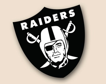 "OAKLAND RAIDERS Set of 2 Vinyl Cornhole DECAL Logo Wall Sticker Car Truck 12"" Size"