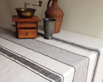Linen Tablecloth, French Country Rustic Table Cloth, Square Tablecloth, Oval  Tablecloth, Striped