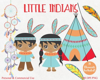 LITTLE AMERICAN INDIANS Clipart Commercial Use Clip Art Indians Teepees Dream Catchers & Feather Graphics Tribal Clipart Thanksgiving Images