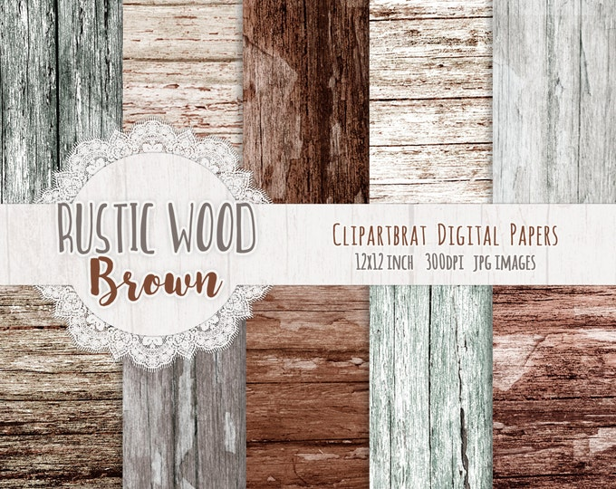 BROWN WOOD Digital Paper Pack Commercial Use Digital Background Ash Brown Gray Barn Wood Paper Distressed Painted Wood Grain Paper Pack