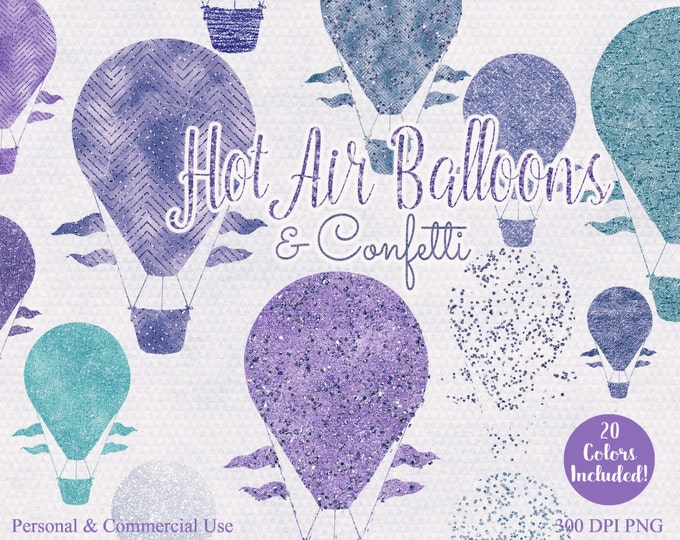 HOT AIR BALLOON Clipart Commercial Use Clip art 20 Metallic Hot Air Balloon Graphics Purple Confetti & Teal Purple Hot Air Balloon Images