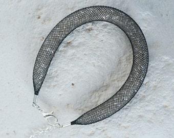 Bracelet mesh Black + Silver Bluefish
