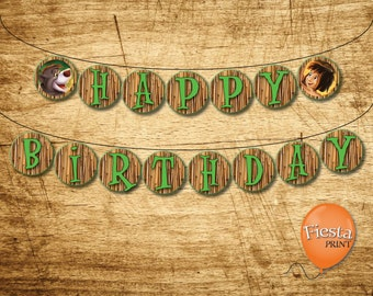 Personalized Printable Birthday Banner - The Jungle Book 1994 Movie