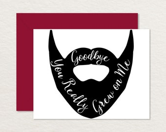 Funny Goodbye Card / Printable Goodbye Card / Farewell Card / Beard Card A2 / Hipster / Moving Card / Bon Voyage Card / Retirement / New Job