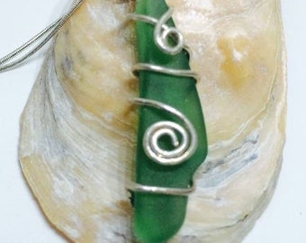 Deep Green Sea Glass Pendant