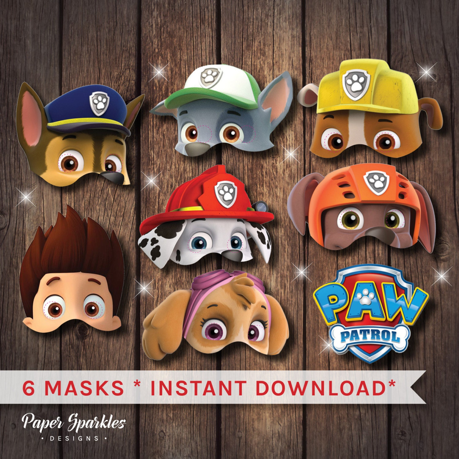 It is an image of Epic Paw Patrol Printable Masks