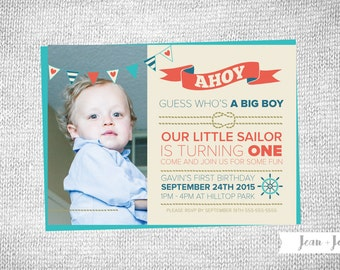Ahoy • Little Sailor Birthday Party Invitation