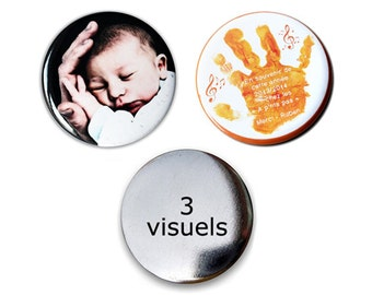 3 pins with your (your) Visual (s) - order your own customizable badges round 38 or 56 mm trio