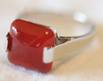 Sterling silver overlay carnelian ring size 8.5