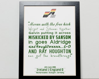 Ireland v England Commentary Euro 88 Poster