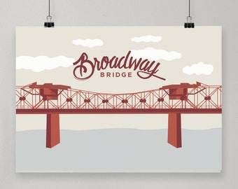 Broadway Bridge / Illustrated Print / Portland, Oregon Design