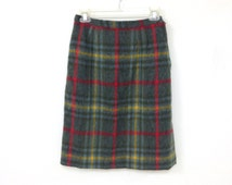 60s Green Yellow Red Plaid Pencil Skirt Mad Men Unique Skirt with Buttons Size Small