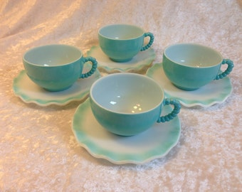 Hazel Atlas Crinoline Ripple Turquoise Blue Cups and Saucers Set of four (4) Vintage milkglass Beaded Handles