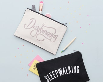 Canvas Makeup Bag - Cosmetics Pouch - Makeup Pouch - Toiletry Bag - Makeup Zipper Bag - Canvas Zipper - Daydreaming Pouch - Alphabet Bags