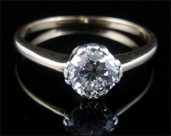Antique Engagement Ring - Victorian 0.75CT Old Cut Solitaire Diamond Gold Ring