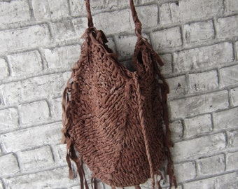 Brown boho style handmade knit bag