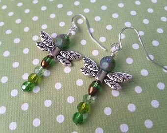 Green Beaded Dragonflies.  Earrings.