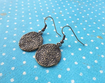 Textured Bronze Discs . Earrings