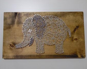 Elephant String Art, Nursery String Art, Baby String Art, Nursery Baby String Art, Elephant Nursery