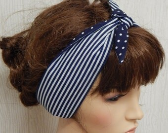 Navy blue striped and dotted headband, rockabilly self tie hair band, reversible women's summer headscarf, stylish head wrap bandana
