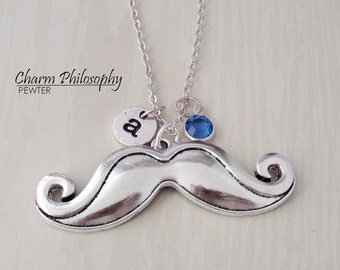 Moustache Necklace - Antique Silver Moustache Charm - Monogram Personalized Initial and Birthstone