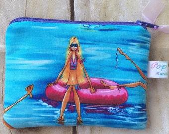 Summer fun padded coin purse/ coin pouch/ small zipper pouch