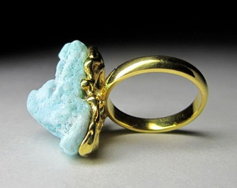 Gold trim silver ring with organicTurquoise Preorder