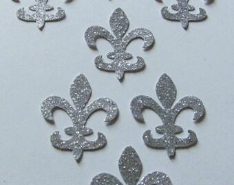 Fleur de lis die cuts- Frozen Colors - Silver - Glittered - 50ct - Cardmaking- Princess Elsa - Confetti-Decor - Scrapbook - Parties