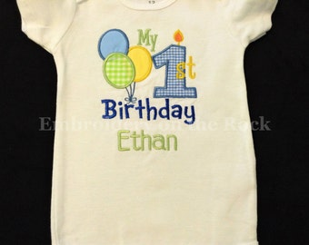 1st birthday shirt, first birthday bodysuit, boy first birthday, birthday shirt with balloons, personalized, embroidered, boy 1st birthday