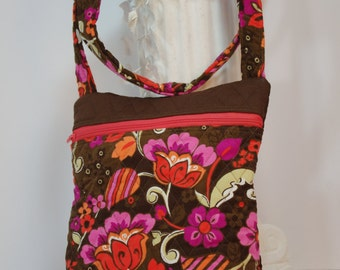 Cross body quilted zippered purse bag (in brown floral corduroy 004)