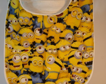 Bib Minions terry cloth snap closure quilted washable