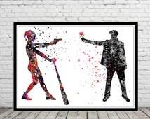 Harley Quinn and Joker inspired, Watercolor Print, Art Print, Super Hero, Wall Art,Poster, Home Decor,  kids Room decor(927b)