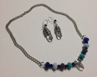 Wire Wrapped Teardrop Crystal Necklace