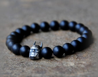 925 Sterling Silver Batman Dark Night Charm Bead with 8mm Matte Black Onyx Beads - Custom Fit Bracelet